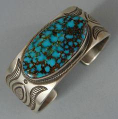 Gorgeous Turquoise Mountain Navajo Calvin Martinez Sterling Silver Cuff Bracelet | eBay