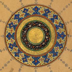 Illuminated finispiece in the form of a circular medallion marks the end of the fourth poem of the Khamsah, Āʾīnah-i Sikandarī | Amīr Khusraw Dihlavī, Five poems. Probably Lahore, XVI c. The Walters Art Museum.
