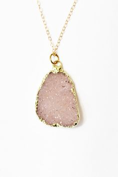 Druzy necklace - druzy jewelry - gold necklace - large stone necklace - bezel gemstone jewelry - statement necklace - druzy pendant necklace. $94.00, via Etsy.