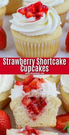 Shortcake Cupcake Recipe, Strawberry Shortcake Cupcake, Strawberry Cupcake Recipes, Strawberry Cupcakes With Filling, Strawberry Topping, Vanilla Cupcakes, Cupcakes With Strawberries, Cupcake With Filling, Wedding Cupcake Recipes