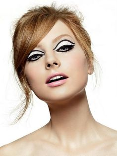 black + white + pink retro eye makeup