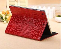 Crocodile-Leather-Magnetic-Folio-Cover-Case-for-Apple-iPad-Mini-Retina-Red