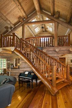Rustic log home - tree branch / logs railing / staircase stairs - fantasy fairytale dream house.great loft for the living room! Log Cabin Living, Log Cabin Homes, Home And Living, Log Cabins, Barn Homes, Mountain Cabins, Mountain Homes, Cozy Living, Living Room