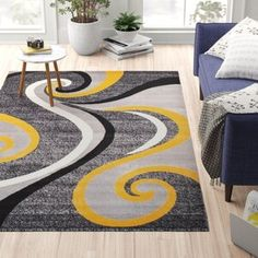 Well Woven Rosa Gold/Gray Rug   Wayfair Yellow Rug, Yellow Area Rugs, Navy Blue Area Rug, White Area Rug, Grey Yellow, Decor Pillows, Home Decor Furniture, Furniture Sale, Grey Rugs