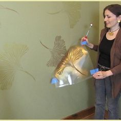 Chinese Ginkgo Wall Stencil DIY Floral Pattern Reusable   Etsy Large Wall Stencil, Stencil Wall Art, Wall Stencil Patterns, Stencil Painting On Walls, Leaf Stencil, Large Stencils, Stencil Diy, Stencil Designs, Stenciling Walls