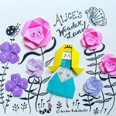 奈良は暑いデス不思議の国は涼しいかな〜? Today is hot Is Wonderland cool? #不思議の国のアリス #おりがみ #絵本 #ペーパークラフト #お花 #イラストレーション #picturebook #paperflower #papercraft #origami #aliceinwonderland #alicesadventuresinwonderland #illustration