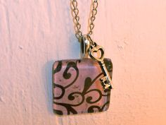 Glass Tile Necklace: Pink Chandelier Pattern Glass Title Necklace, Scrabble Tile Necklace, Glass Pendant