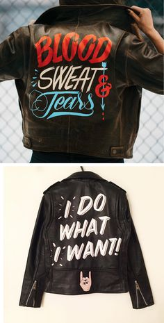 Painted leather jackets | hand painted jacket | illustration on jacket | hand lettered fashion