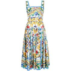 Dolce and Gabbana Tile Print Cotton Dress (39,660 MXN) ❤ liked on Polyvore featuring dresses, all dresses, daytime, kirna zabete, multicolored dress, colorful dresses, mid length dresses, multi colored dress and dolce gabbana dress