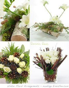 Elegant Rustic Winter Floral Arrangements simple and classic Winter Wedding Centerpieces, Winter Wedding Flowers, Christmas Centerpieces, Centerpiece Ideas, Winter Flower Arrangements, Christmas Arrangements, Floral Arrangements, Deco Floral, Arte Floral