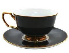 Black & gold teacup and saucer