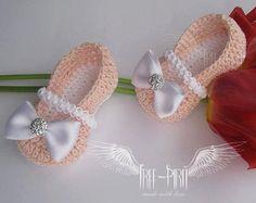 Zapatos de bailarina de bebé del ganchillo * botitas de bebé * zapatos de bebé * botines recién nacido * zapatillas de bebé