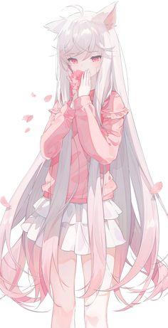 Anime Wolf Girl, Manga Anime Girl, Cool Anime Girl, Anime Girl Drawings, Anime Artwork, Kawaii Anime Girl, Beautiful Anime Girl, Anime Boy Long Hair, Anime Hair