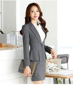 ce35d5968f5 High quality new fashion women suits slim work wear office ladies long  sleeve blazer skirt suits