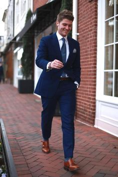 Blue suit - Brown shoes, brown belt, maybe add in some suspenders