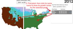 Comparing the USDA Plant Hardiness Zones from 2012 to 2099 and even can look on a plant by plant basis!