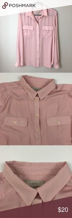 """[LOFT] Blush Button Down Blouse Top XL [LOFT] Blush Button Down Blouse Top   Condition Excellent, like new  Details *Color is most similar to cover photo.  Features full button front. Button near sleeve cuffs. Blush color - most popular color this season.   Measurements  • Length 26"""" • Bust 48""""  ✨ Reasonable offers considered. Feel free to check out the rest of my closet to save on a bundle ✨ [021821] LOFT Tops Blouses"""