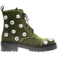 Anouki Khaki Hand Embroidered Ankle Boots (1,790 SAR) ❤ liked on Polyvore featuring shoes, boots, ankle booties, footwear, green, daisies, khaki green, bootie boots, green ankle boots and green boots