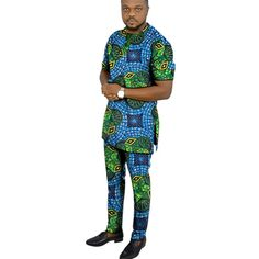 African clothing men's print set short sleeve shirt with trouser Ankara fashion pant sets customize wedding male formal outfits - AliExpress Nigerian Men Fashion, Ankara Fashion, African Men Fashion, Mens Fashion, African Dresses Men, African Clothing For Men, Styles Ankara, Formal Outfits, Men Design