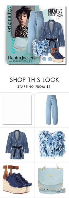 """""""Scraps of Denim"""" by michelletheaflack ❤ liked on Polyvore featuring MM6 Maison Margiela, Current/Elliott, Daizy Shely, Chloé, Just Cavalli, Sunday Somewhere, denimjackets, WardrobeStaples and polyvorecontests"""