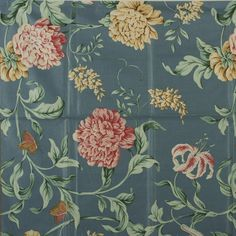 """Fabric Sample, Fasanarie Glazed Chintz, Blue A sample of a Brunschwig & Fils Inc. fabric design, no. This is a screen print sample. The pattern is """"Fasanarie"""" and the fabric is dated MCMXCV The fabric is glazed cotton chintz. Make Design, Fabric Samples, Fabric Design, Screen Printing, Swatch, Garden Design, Weaving, Home And Garden, Pottery"""