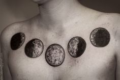 moon phase chest tattoo
