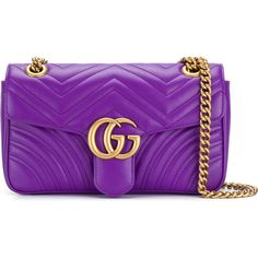Gucci GG Marmont matelassé shoulder bag ($1,870) ❤ liked on Polyvore featuring bags, handbags, shoulder bags, gucci purse, chain shoulder bag, gucci handbags, quilted leather shoulder bag and purple leather purse
