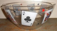 Vintage Bowl Glass Playing Cards Chip Bowl Punch by TheBackShak