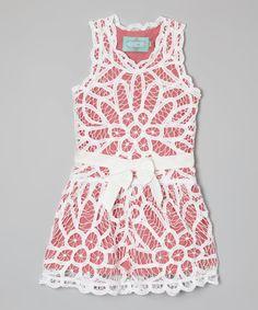 Another great find on #zulily! Kalliope Coral Crocheted Dress - Toddler & Girls by Kalliope #zulilyfinds