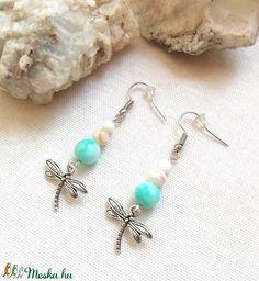 Kék amazonit ásvány fülbevaló szitakötő díszítéssel, féldrágakő ásványfülbevaló (amethysta) - Meska.hu Drop Earrings, Amazon, Jewelry, Fashion, Moda, Amazons, Jewlery, Riding Habit, Jewerly