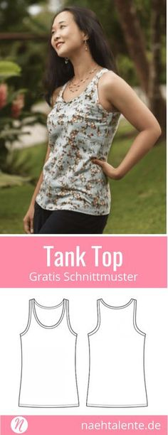 Tank Top für Damen – Freebook Größe 34 – 50 Free Sewing Pattern Tank Top for Women. Size 34 – PDF cut to print. Easy for Beginners ❤ Sewing Talents – Magazine for Free Sewing Patterns – Free sewing patterns for a woman tank top. Sewing Dress, Sewing Shorts, Sewing Clothes, Sewing Patterns Free, Free Sewing, Dress Patterns, Pattern Sewing, Free Pattern, Knitting Patterns