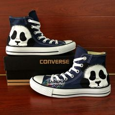 Cute panda,blue converse chuck taylor shoes with water-resistant acrylic paints,welcome to contact and customize any design you like on these shoes.