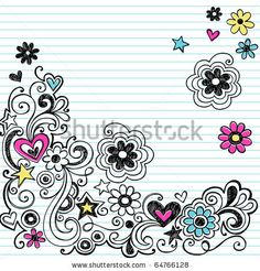 Simple Doodle Ideas | Hand-Drawn Sketchy Marker Notebook Doodle Design Elements on White ...