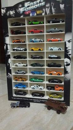 Fast and Furious Hot wheels collection - Brought to you by Smart-e Hot Wheels Storage, Hot Wheels Display, Garage Storage, Carros Hot Wheels, Matchbox Cars, Matchbox Car Storage, Car Hacks, Cute Cars, Funny Cars