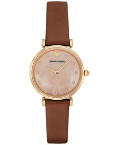 Emporio Armani® Womens Brown Leather Coral Mother of Pearl Dial Three Hand Watch Emporio Armani, Armani Jewellery, Brown Leather Strap Watch, Retro Watches, Armani Watches, Hand Watch, Accessories, Jewelry Watches, Brown Brown
