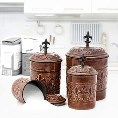 Shop for Old Dutch Versailles Antique Copper Canisters (Set of Get free delivery On EVERYTHING* Overstock - Your Online Kitchen & Dining Destination! Old World Decorating, Copper Canisters, Kitchen Canister Sets, Copper Kitchen, Jar Storage, Cool Kitchens, Old World Kitchens, Versailles, Kitchen
