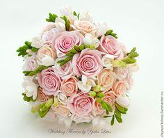 Купить Букет из полимерной глины с розами - букет невесты, букет невесты из глины, букет на свадьбу