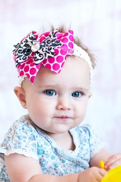 Items similar to baby hair bow. pink and black damak ribbon hairbow. great  hairbow for newborn 7303735c8d59d