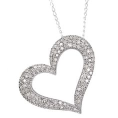 Miadora Sterling Silver 1ct TDW Diamond Heart Necklace (J-K, I3) Sale $143.99
