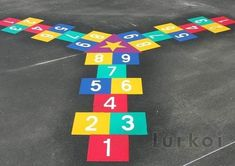 3 way hopscotch Preschool Playground, Preschool Garden, Playground Games, Playground Design, Playground Painting, Playground Flooring, School Painting, Outdoor Games For Kids, Outdoor Classroom