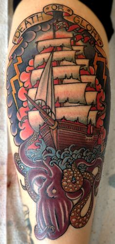 ~ New Traditional tattoo ~ ship and octopus by Cohen Floch Tattooer