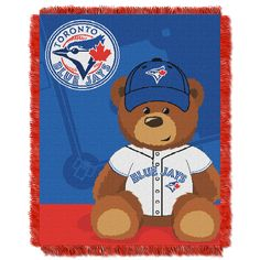 Toronto Blue Jays MLB Triple Woven Jacquard Throw Field Baby Series for sale online Toronto Blue Jays, Weaving Process, Major League, Fan Gear, Baseball Field, Mlb, Teddy Bear, Bedding, Products
