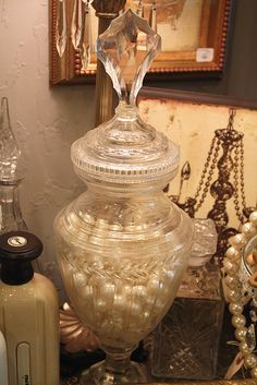 A very elegant apothecary jar by Romantic Home, via Flickr www.MadamPaloozaEmporium.com www.facebook.com/MadamPalooza