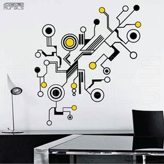 Wall decals TECH SHAPES Abstract shapes vinyl art stickers interior decor by Decals Murals (Medium) Office Wall Design, Office Wall Art, Library Design, Office Walls, House Paint Interior, Interior Trim, Interior Design Living Room, Wall Stickers, Wall Decals