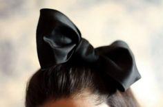 black bow in hair