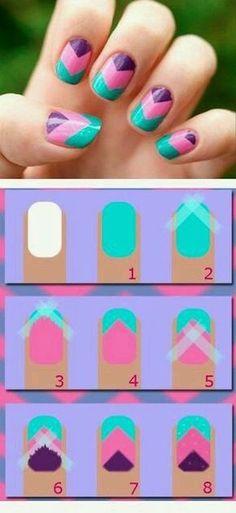 DIY Zig Zag Nails nails diy nail art nail trends diy nails diy nail art diy nail tutorial Omg i can do chevron nails now! Cute Nail Art, Nail Art Diy, Easy Nail Art, Diy Nails, Cute Nails, Manicure Ideas, Easy Kids Nails, Zig Zag Nails, Chevron Nails
