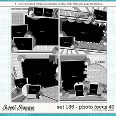 Digital Scrapbook Templates, Cindy's Layered Templates - Set 156: Photo Focus 40 by Cindy Schneider