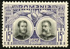 "Romania 1906 Scott 180 15b dull violet & black ""Carol I as Prince in 1866 and King in 1906"""