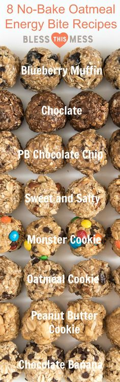 Your snack game will never be the same once you try these no-bake oatmeal energy balls. Includes eight flavor options, as well as tips for making your own. These are a great healthy dessert option too(Baking Treats Energy Bites) Oatmeal Energy Bites, Recipe For Energy Bites, Oatmeal Protein Cookies, No Bake Energy Bites, Oatmeal Muffins, Granola Bites No Bake, Baked Oatmeal Bars, Oatmeal Energy Balls Recipe, Energy Bites