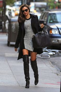 Miranda Kerr in Alexander Wang Dress and Hermes knee-high boots3